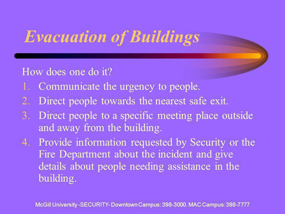 Evacuation of Buildings