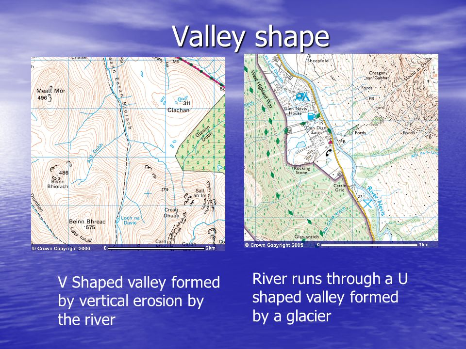 Valley shape River runs through a U shaped valley formed by a glacier