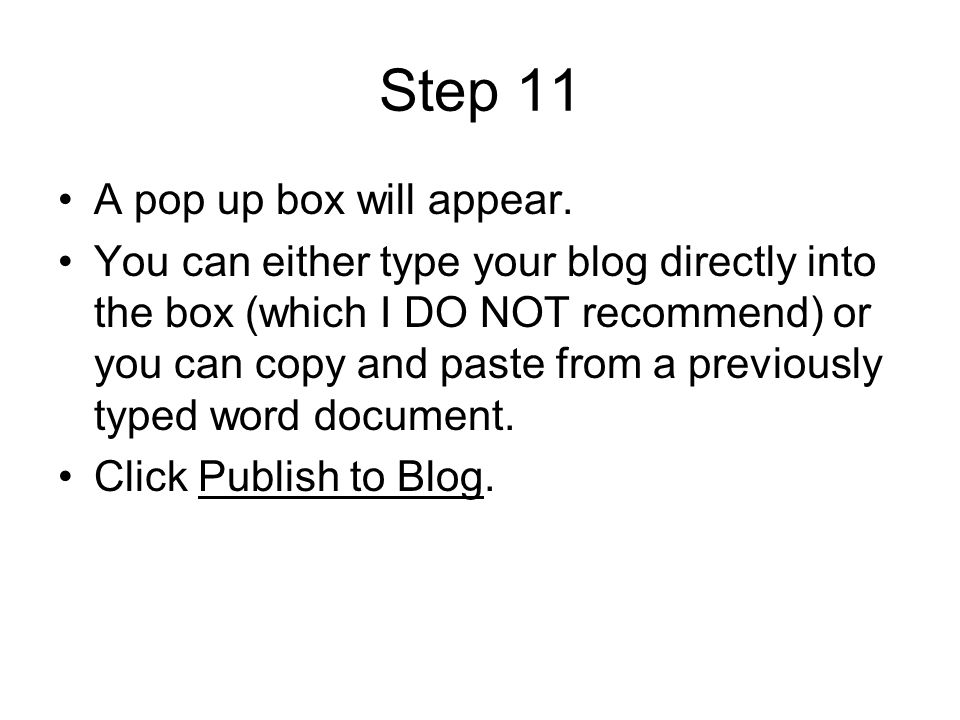 Step 11 A pop up box will appear.