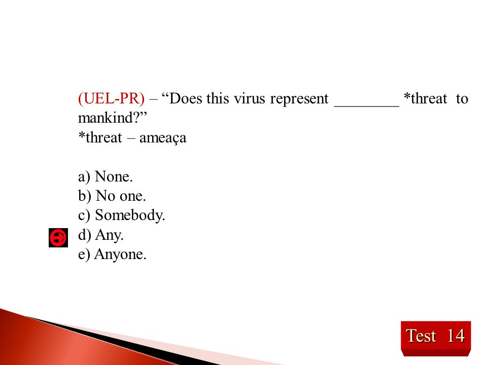 (UEL-PR) – Does this virus represent ________ *threat to mankind