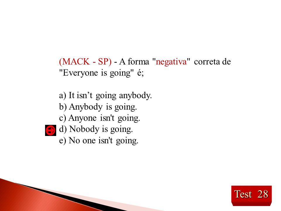 (MACK - SP) - A forma negativa correta de Everyone is going é;