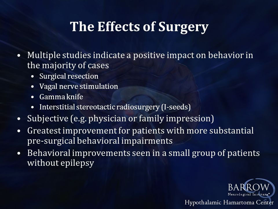 The Effects of Surgery Multiple studies indicate a positive impact on behavior in the majority of cases.