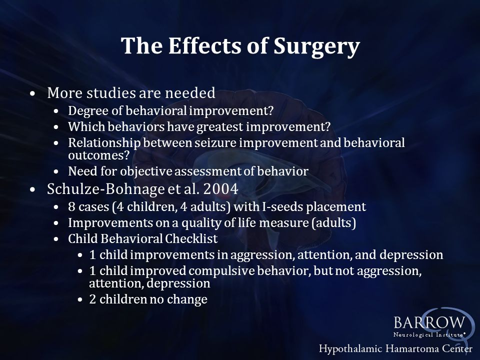 The Effects of Surgery More studies are needed