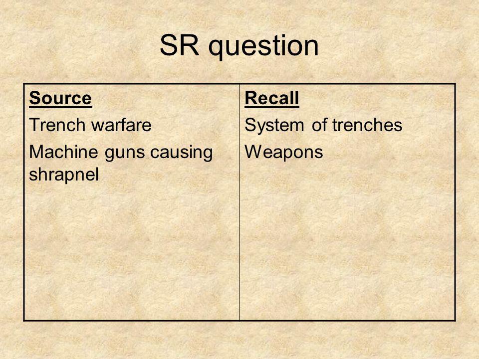 SR question Source Trench warfare Machine guns causing shrapnel Recall