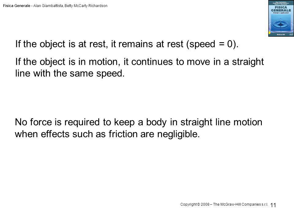 If the object is at rest, it remains at rest (speed = 0).