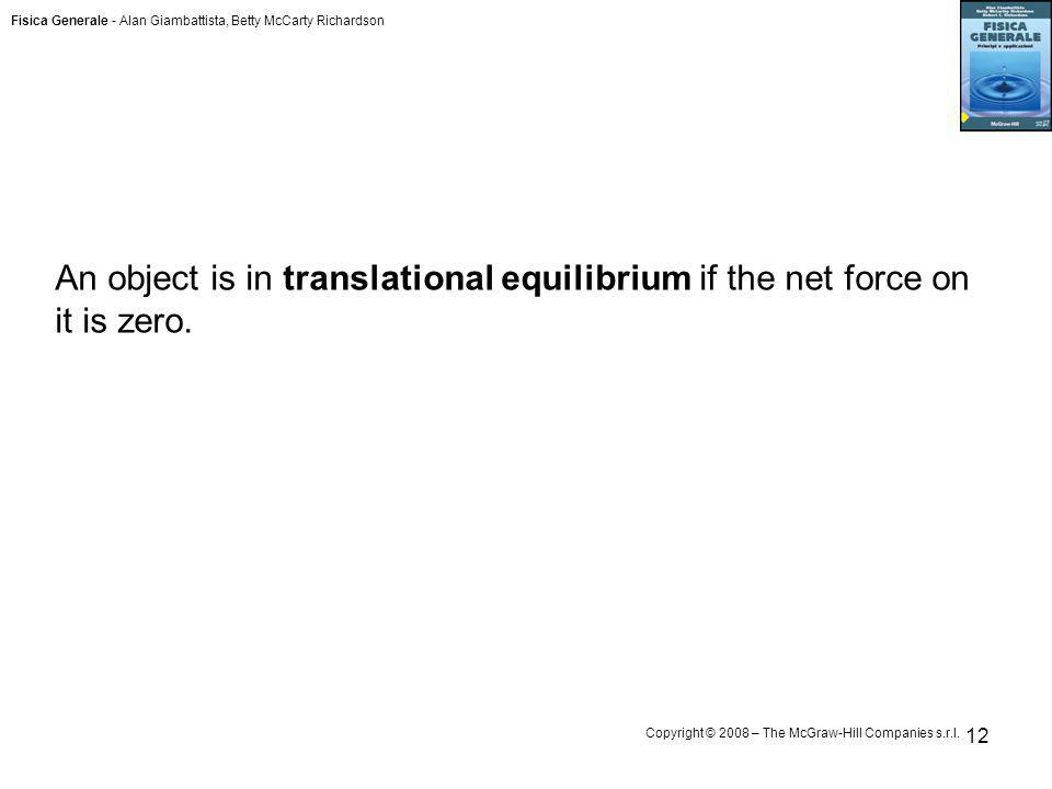 An object is in translational equilibrium if the net force on it is zero.