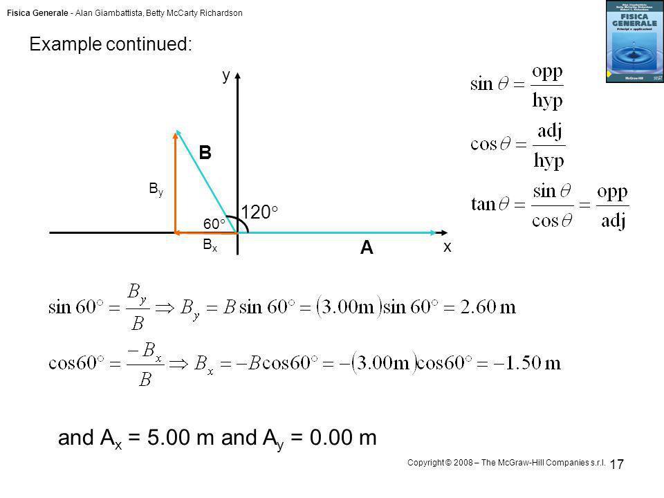 and Ax = 5.00 m and Ay = 0.00 m Example continued: B 120 A y x By 60