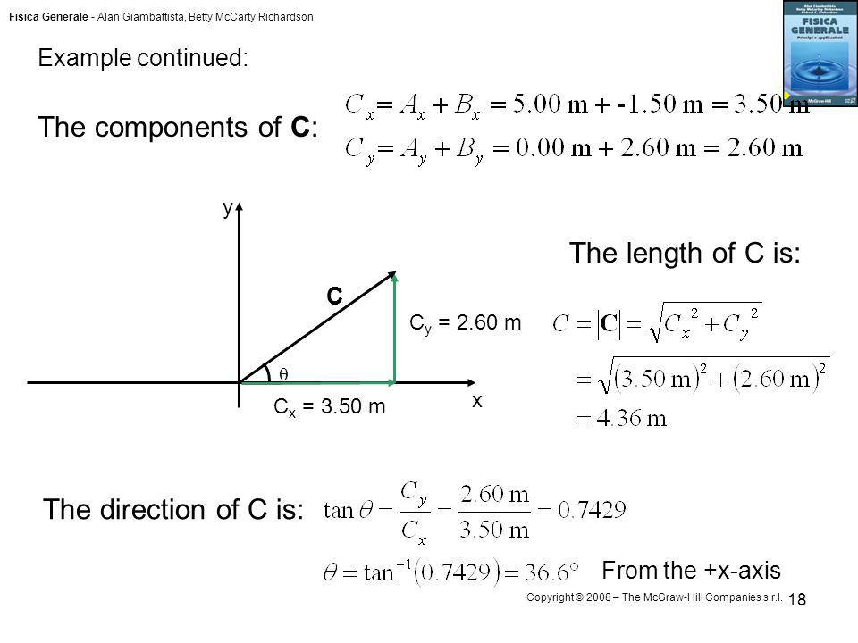 The components of C: The length of C is: The direction of C is: