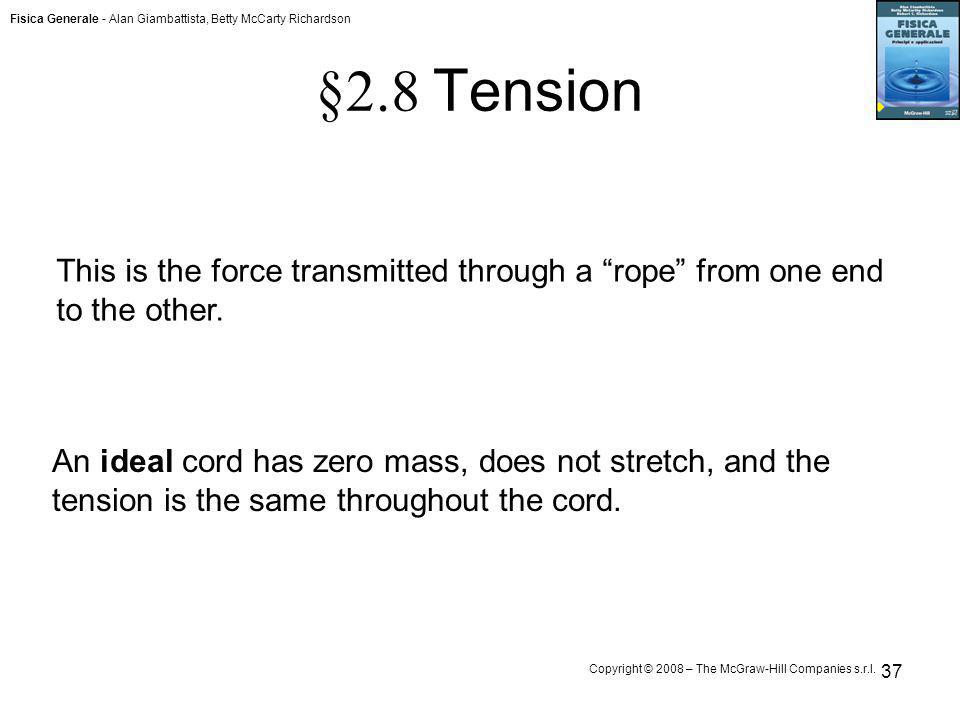 §2.8 Tension This is the force transmitted through a rope from one end to the other.
