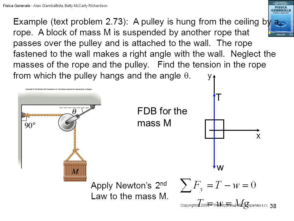 Example (text problem 2.73): A pulley is hung from the ceiling by a rope. A block of mass M is suspended by another rope that passes over the pulley and is attached to the wall. The rope fastened to the wall makes a right angle with the wall. Neglect the masses of the rope and the pulley. Find the tension in the rope from which the pulley hangs and the angle .
