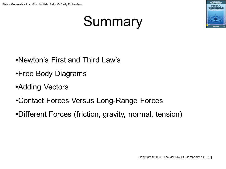 Summary Newton's First and Third Law's Free Body Diagrams
