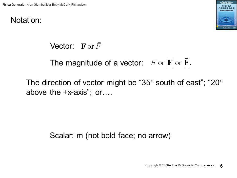 Notation: Vector: The magnitude of a vector: The direction of vector might be 35 south of east ; 20 above the +x-axis ; or….