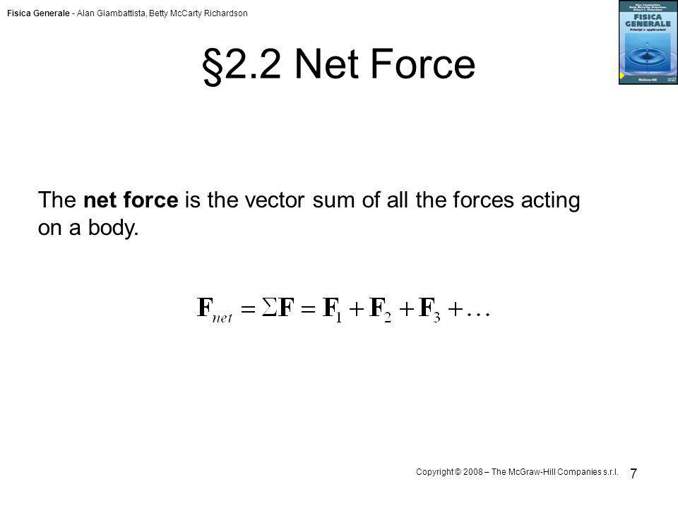 §2.2 Net Force The net force is the vector sum of all the forces acting on a body.