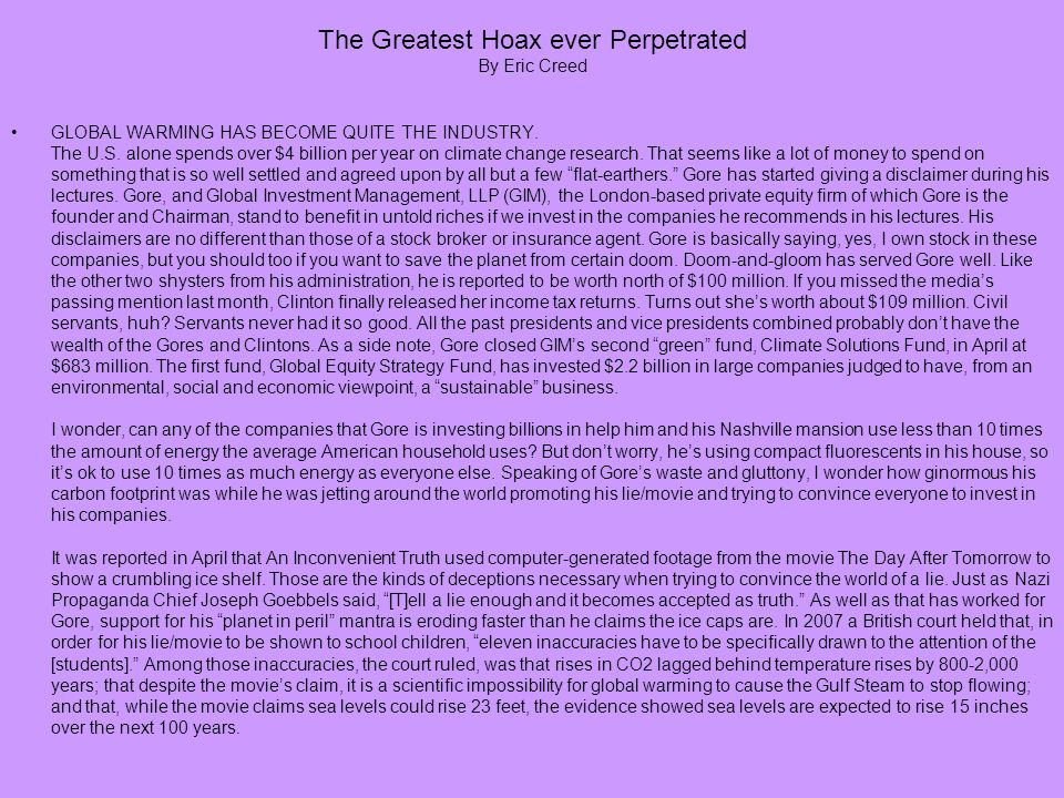 The Greatest Hoax ever Perpetrated By Eric Creed