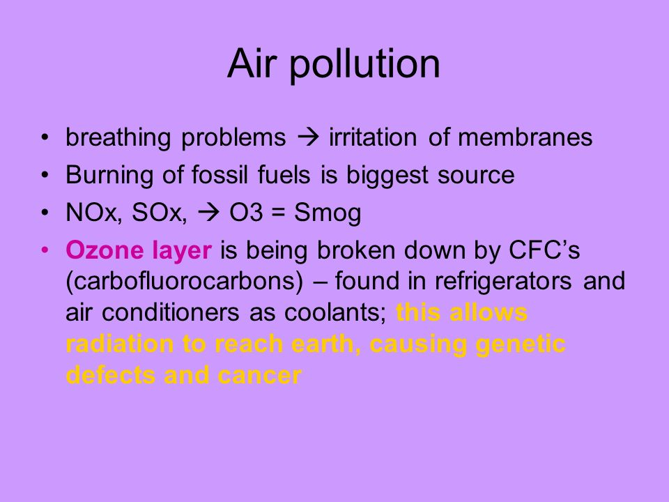 Air pollution breathing problems  irritation of membranes
