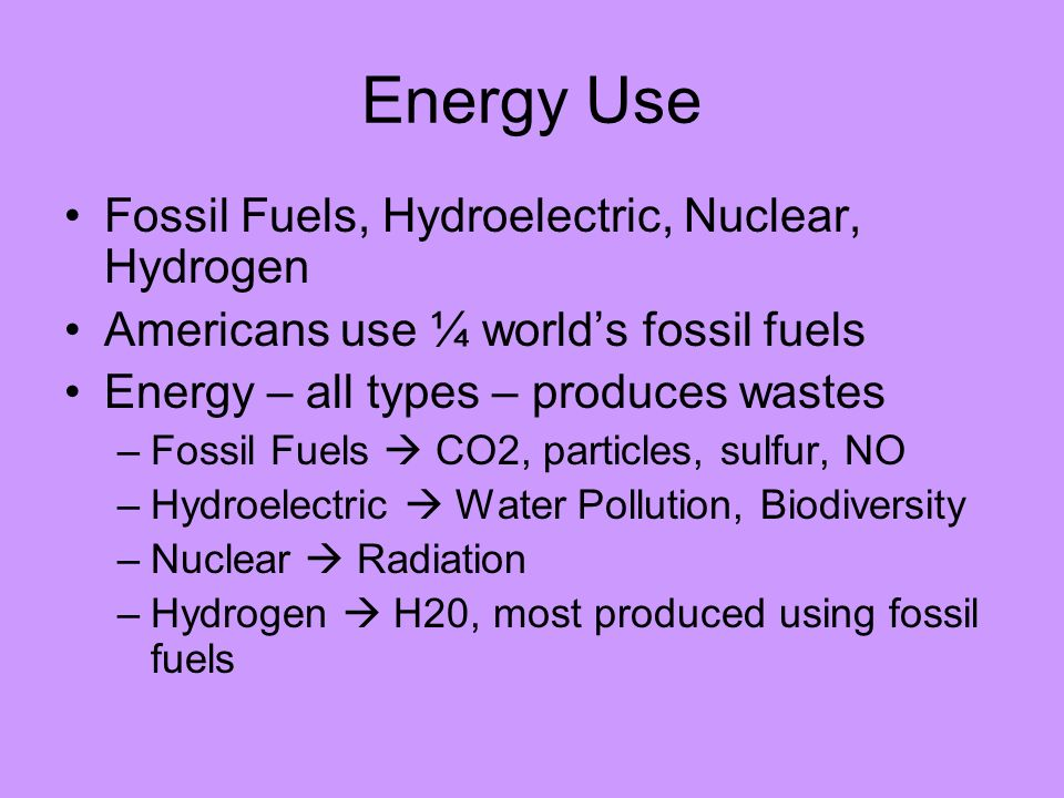 Energy Use Fossil Fuels, Hydroelectric, Nuclear, Hydrogen