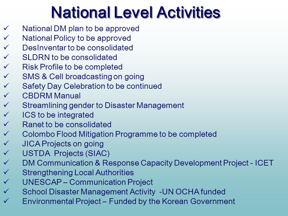 National Level Activities