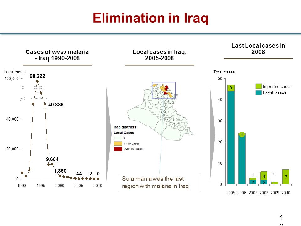Cases of vivax malaria - Iraq 1990-2008