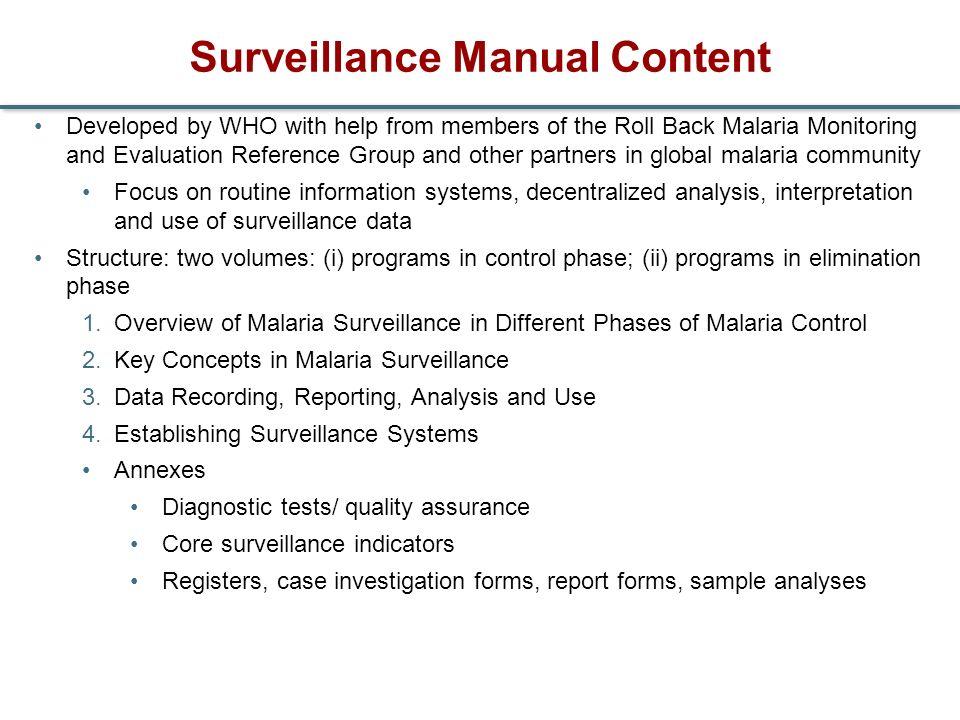Surveillance Manual Content
