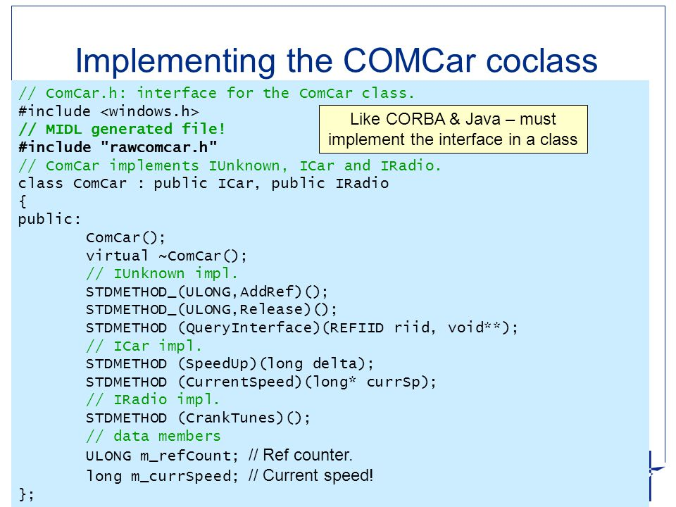 Implementing the COMCar coclass