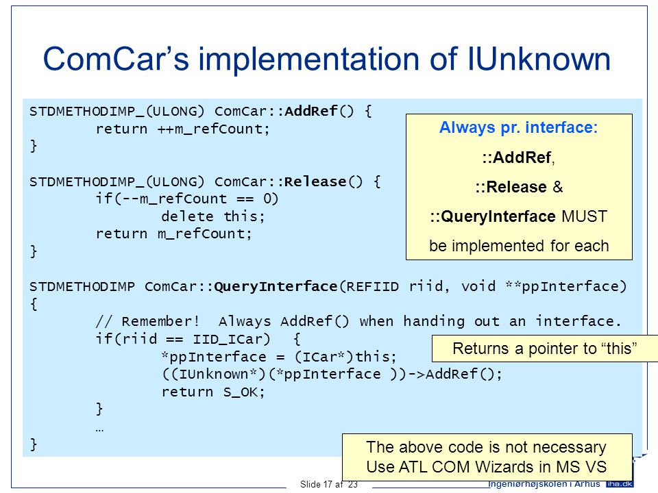 ComCar's implementation of IUnknown
