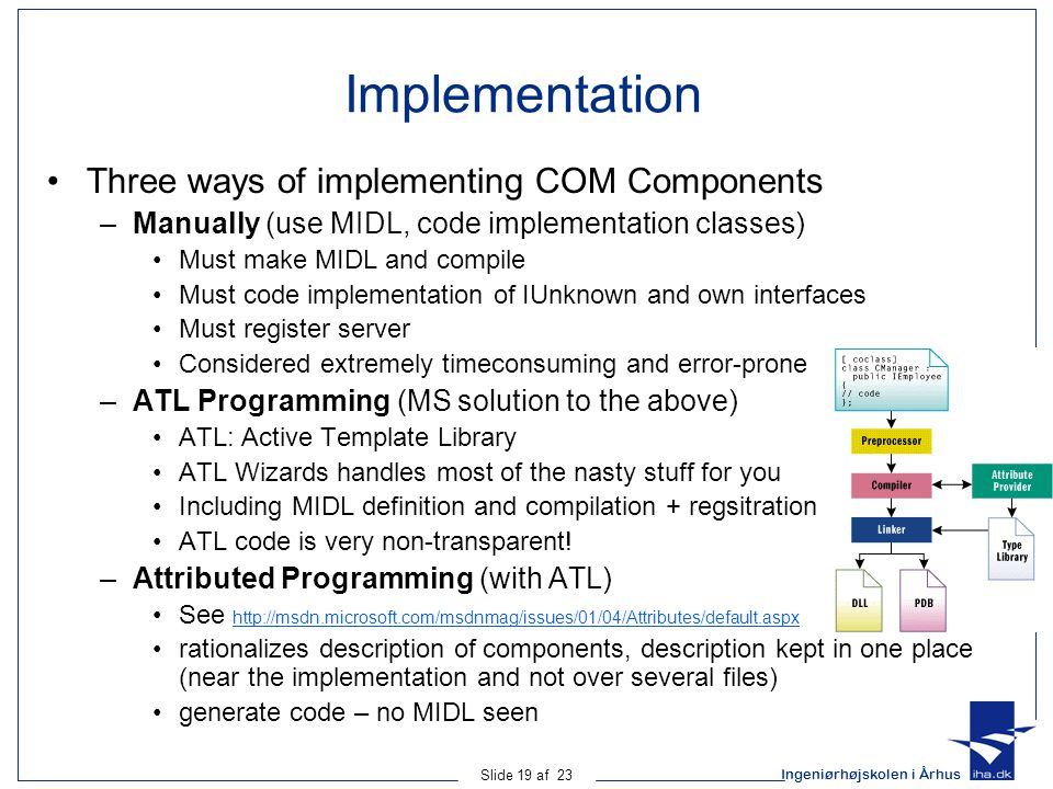 Implementation Three ways of implementing COM Components