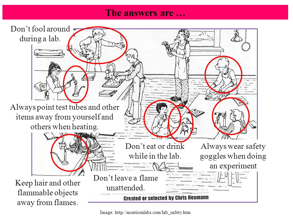 The answers are … Don't fool around during a lab.