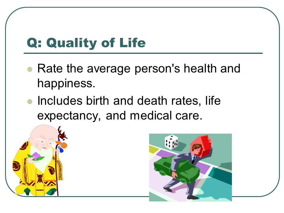 Q: Quality of Life Rate the average person s health and happiness.