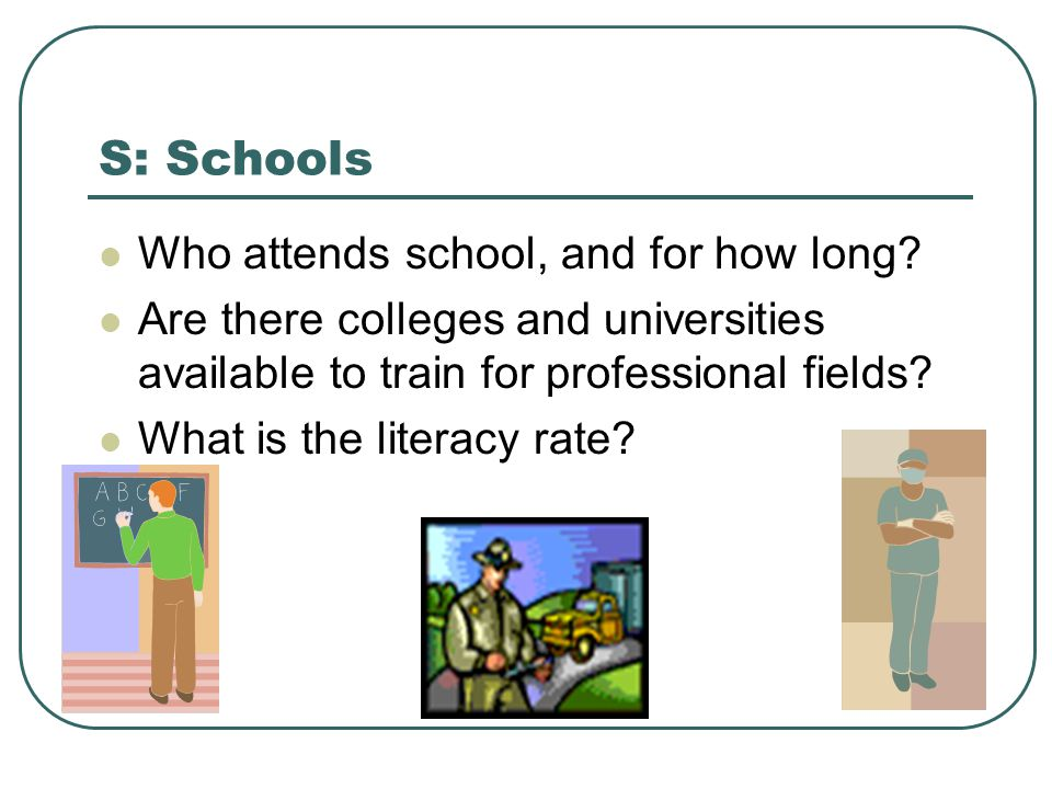 S: Schools Who attends school, and for how long