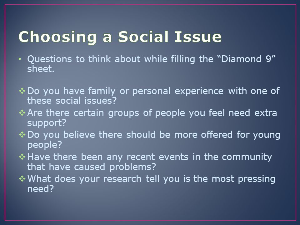 Choosing a Social Issue