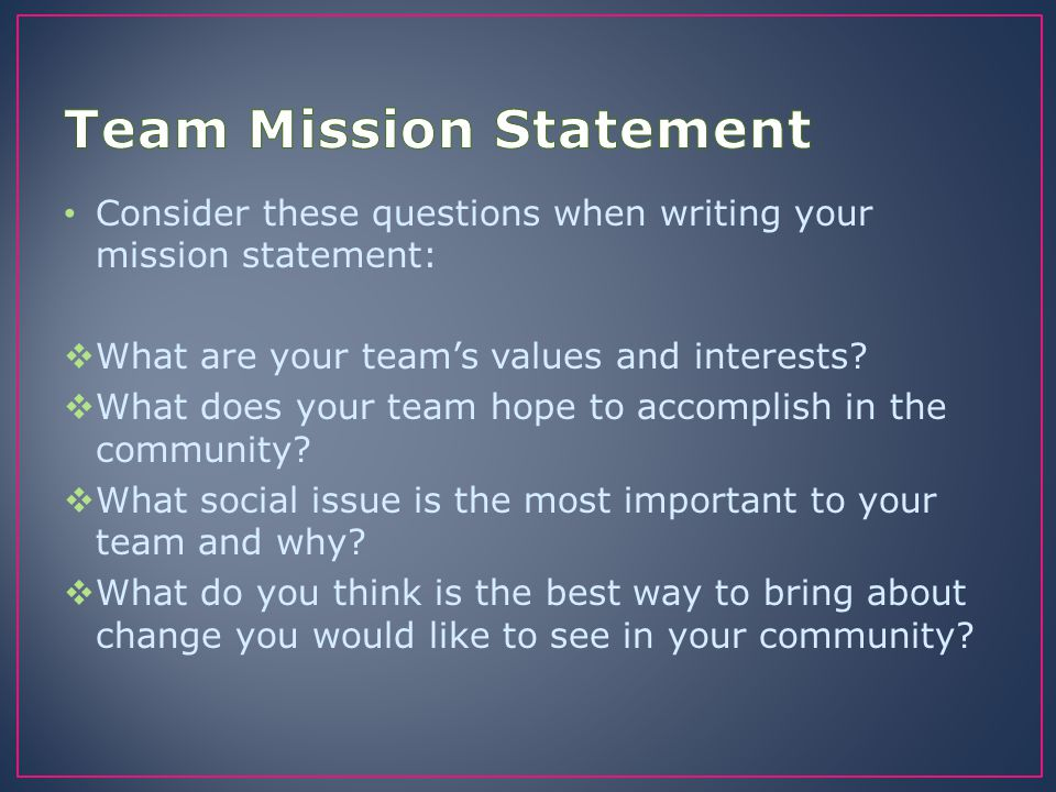 Team Mission Statement