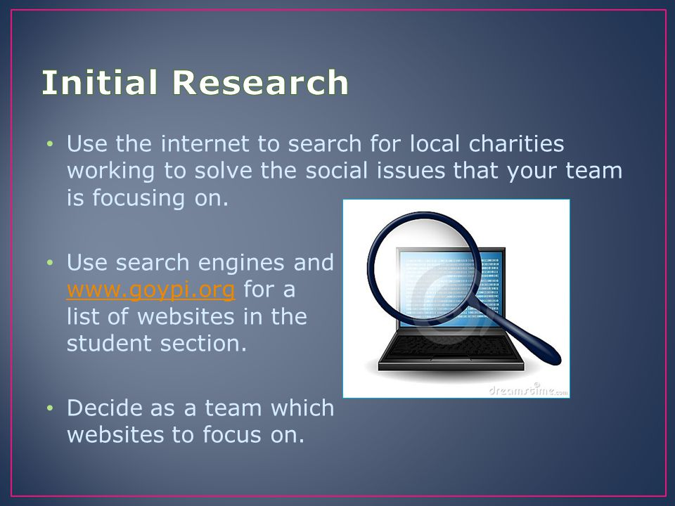 Initial Research Use the internet to search for local charities working to solve the social issues that your team is focusing on.