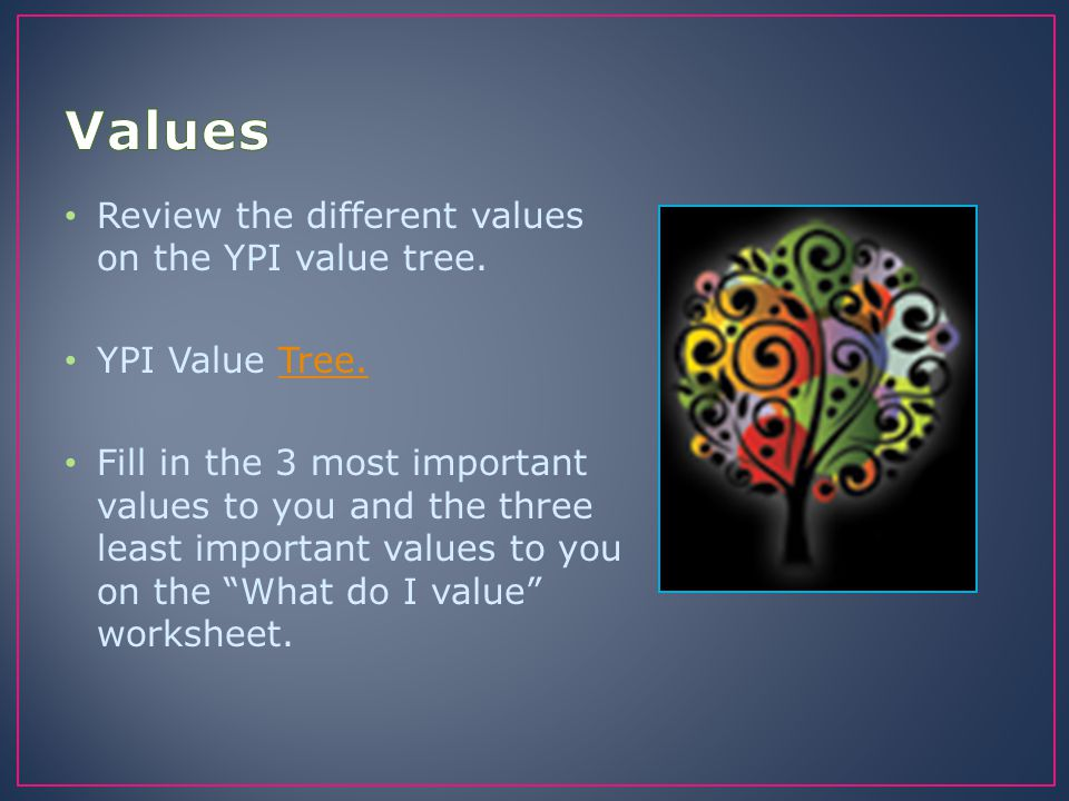 Values Review the different values on the YPI value tree.
