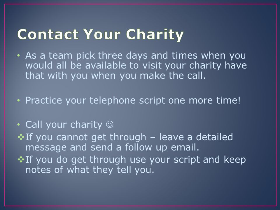 Contact Your Charity