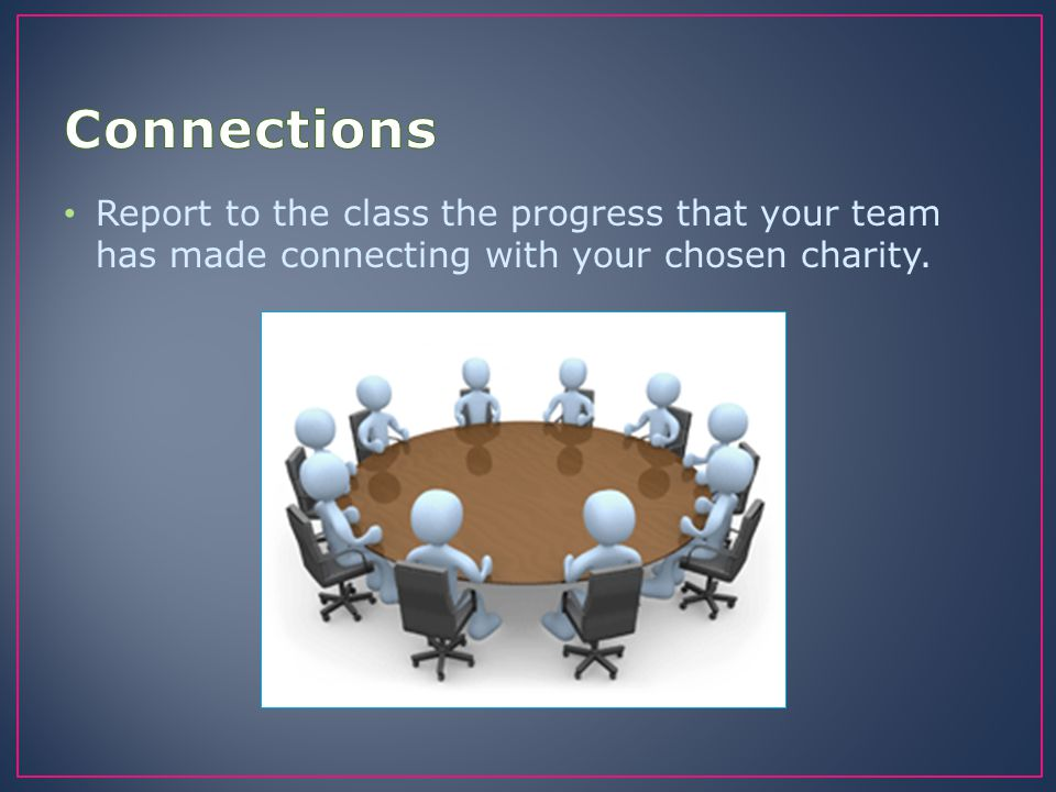 Connections Report to the class the progress that your team has made connecting with your chosen charity.