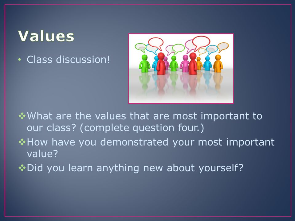 Values Class discussion!