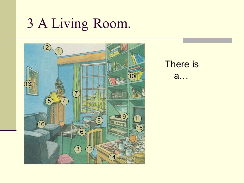 3 A Living Room. 2 1 There is a… 10 13 7 5 4 9 11 8 16 15 6 3 12 14