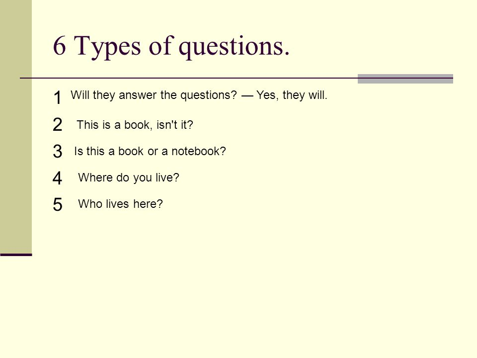6 Types of questions. 1. 2. 3. 4. 5. Will they answer the questions — Yes, they will. This is a book, isn t it