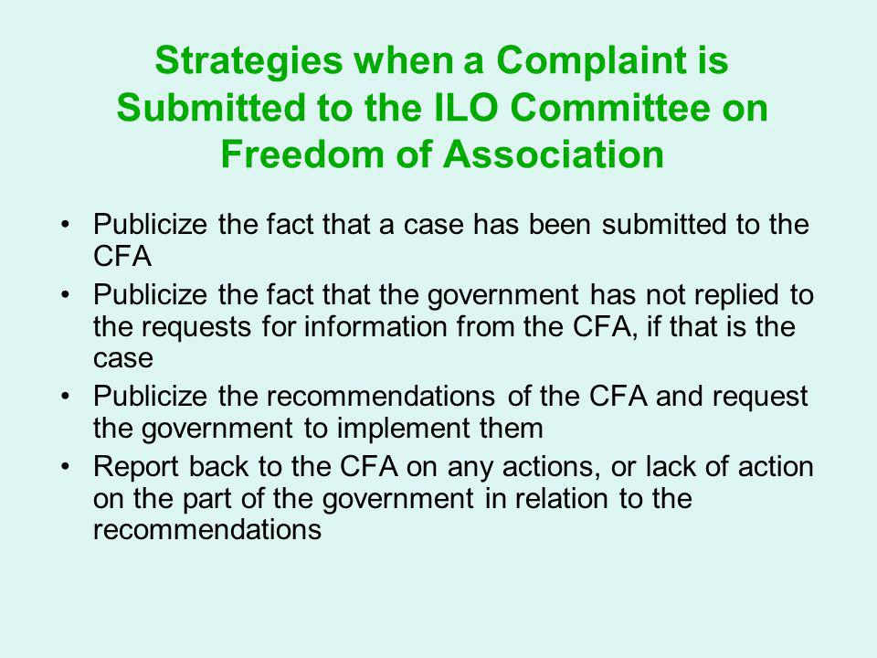 Strategies when a Complaint is Submitted to the ILO Committee on Freedom of Association