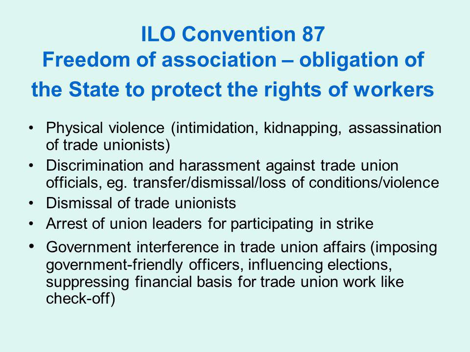 ILO Convention 87 Freedom of association – obligation of the State to protect the rights of workers