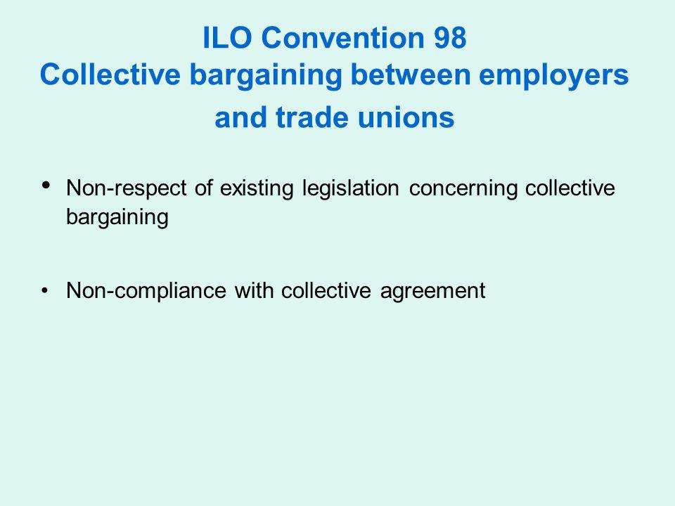 • Non-respect of existing legislation concerning collective bargaining