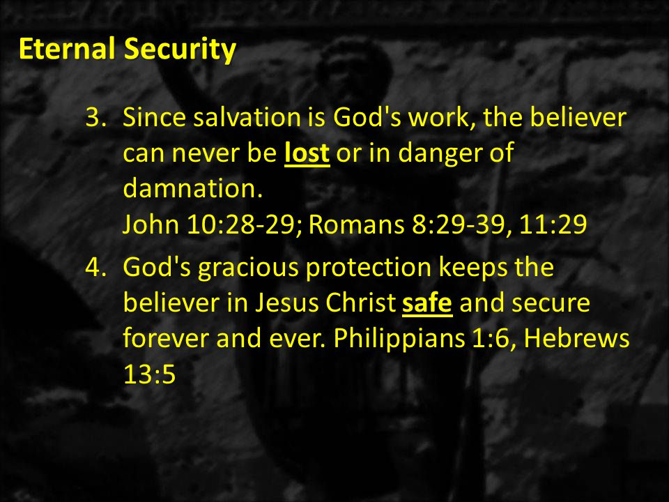 Eternal Security Since salvation is God s work, the believer can never be lost or in danger of damnation. John 10:28-29; Romans 8:29-39, 11:29.