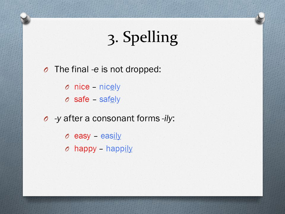 3. Spelling The final -e is not dropped: