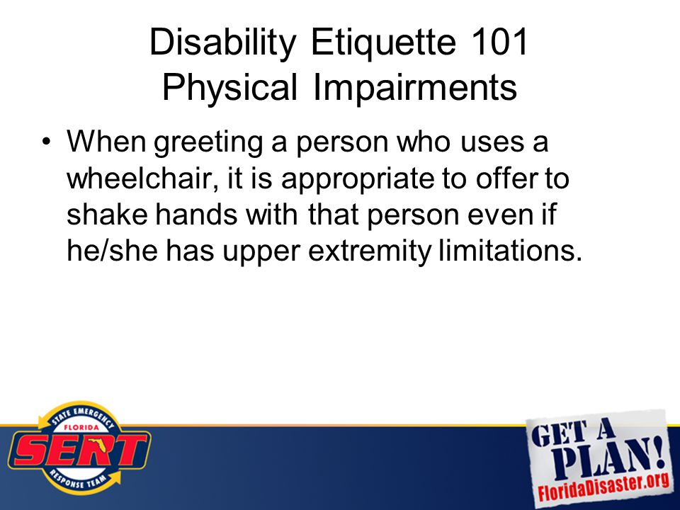 Disability Etiquette 101 Physical Impairments