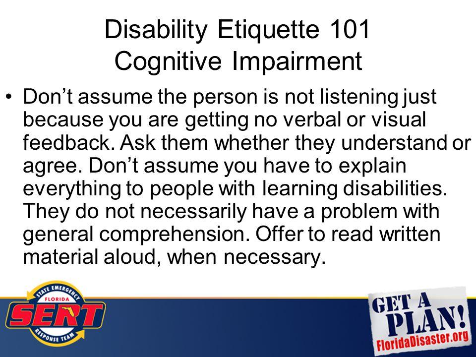 Disability Etiquette 101 Cognitive Impairment