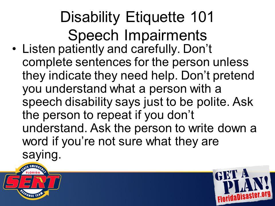 Disability Etiquette 101 Speech Impairments