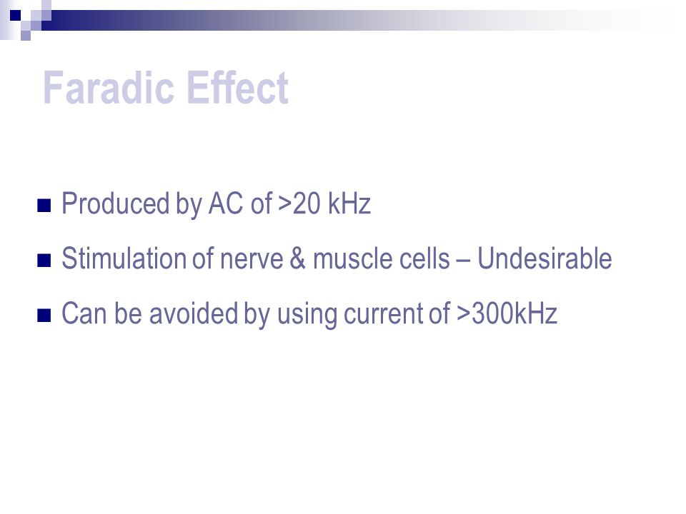 Faradic Effect Produced by AC of >20 kHz