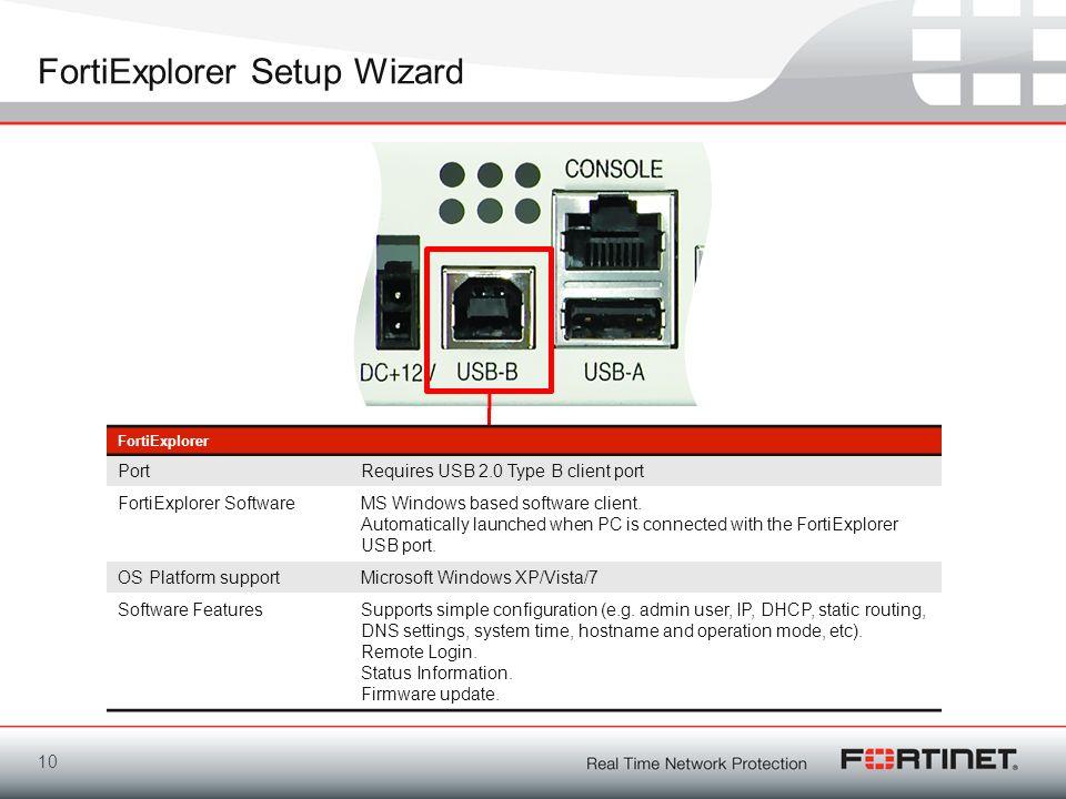 FortiExplorer Setup Wizard