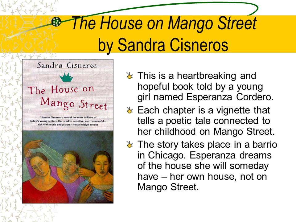 an examination of the novel the house on mango street by sandra cisneros Start studying the house of mango street literary devices learn vocabulary, terms in the house on mango street esperanza matures along her journey what writing style does sandra cisneros displayed in the novel, house on mango street.