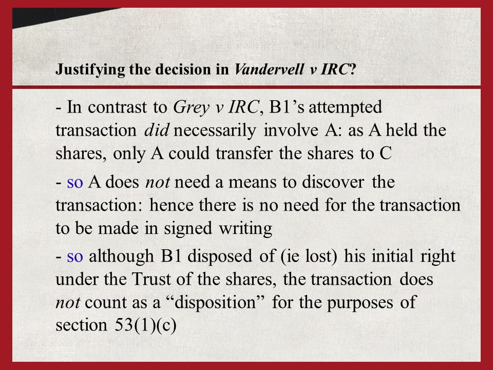 Justifying the decision in Vandervell v IRC